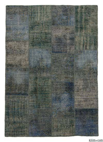 Blue, Light Blue Over-dyed Turkish Patchwork Rug - 5'8'' x 8'1'' (68 in. x 97 in.)