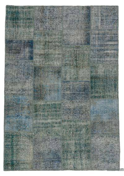 Blue, Turquoise Over-dyed Turkish Patchwork Rug - 5'7'' x 8' (67 in. x 96 in.)