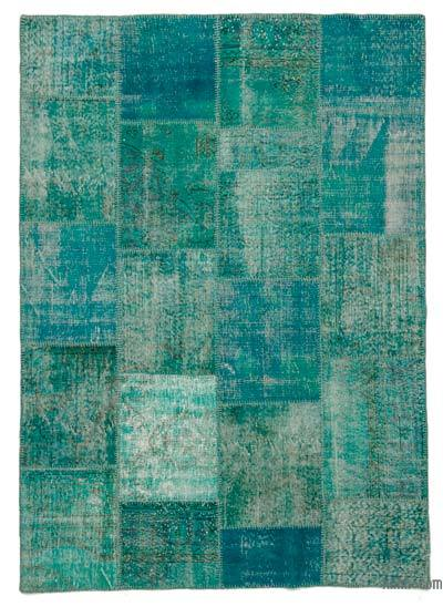 Turquoise Over-dyed Turkish Patchwork Rug - 5'7'' x 7'10'' (67 in. x 94 in.)
