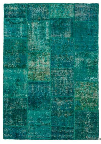 Turquoise Over-dyed Turkish Patchwork Rug - 5'7'' x 7'11'' (67 in. x 95 in.)