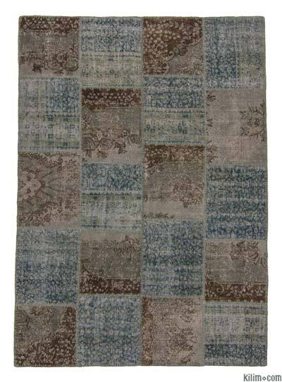 Brown, Light Blue Over-dyed Turkish Patchwork Rug - 5'8'' x 7'11'' (68 in. x 95 in.)