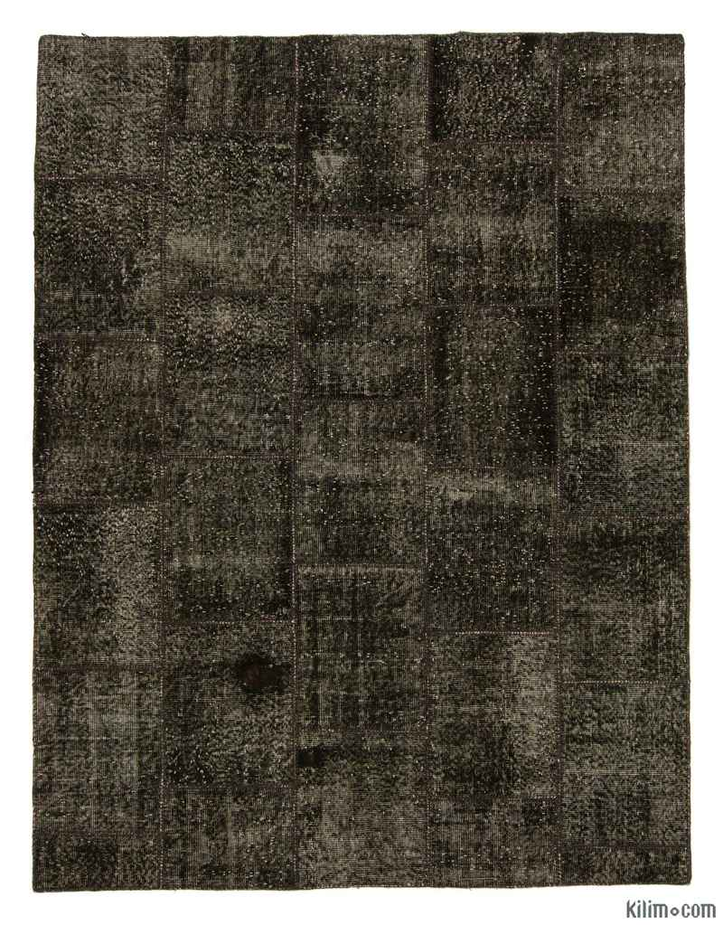 K0006105 Brown Black Over Dyed Turkish Patchwork Rug 6