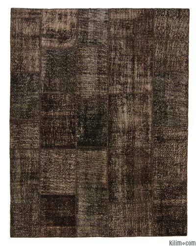 Brown Over-dyed Turkish Patchwork Rug - 6'7'' x 8'4'' (79 in. x 100 in.)