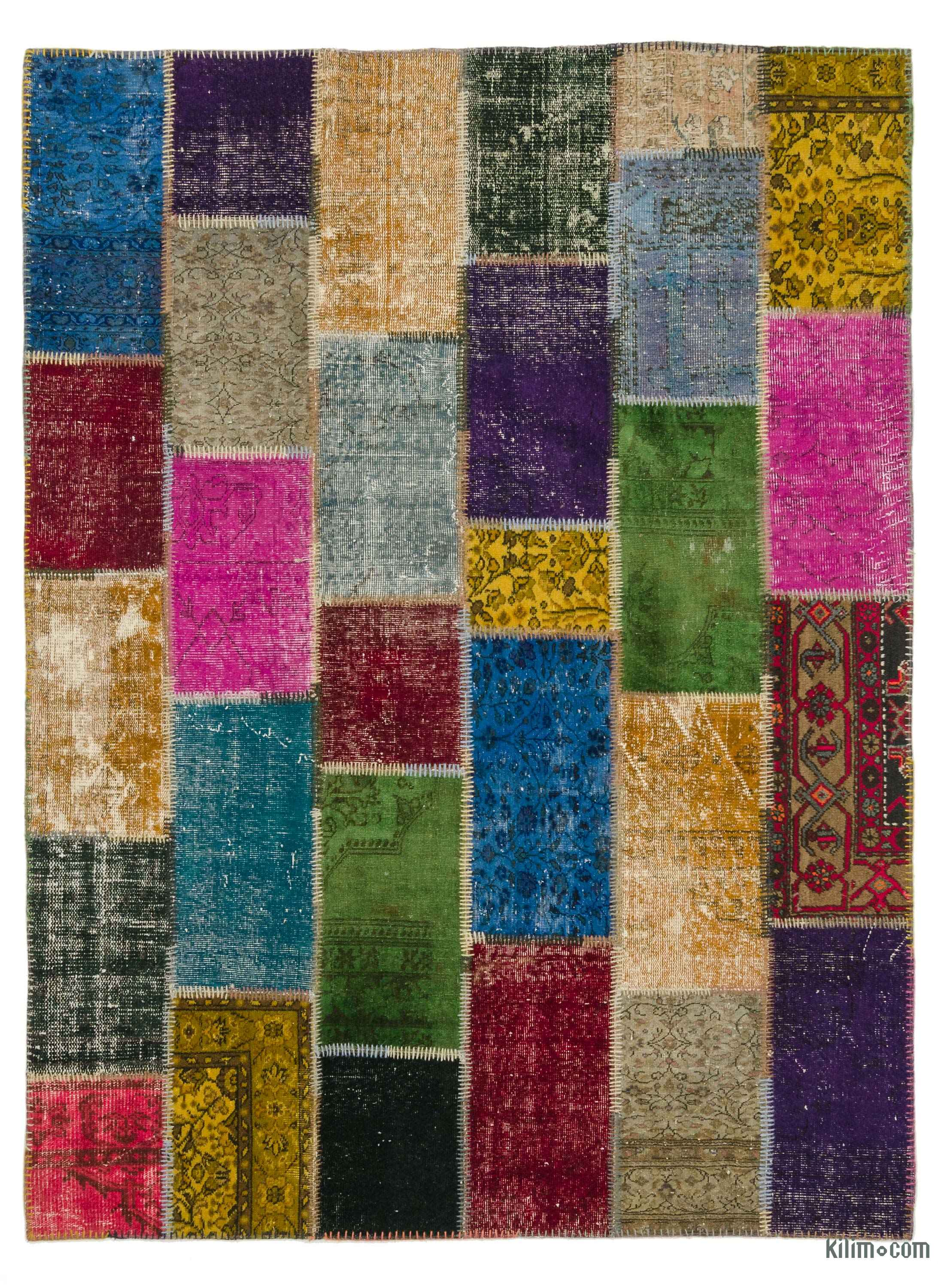 K0006109 Multicolor Over Dyed Turkish Patchwork Rug 5 10