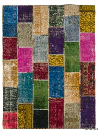 Multicolor Over-dyed Turkish Patchwork Rug - 5'10'' x 7'11'' (70 in. x 95 in.)