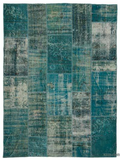 Turquoise Over-dyed Turkish Patchwork Rug - 5'11'' x 7'10'' (71 in. x 94 in.)