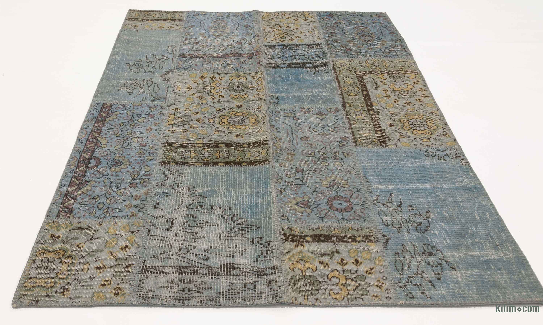 k0006126 light blue over-dyed turkish patchwork rug | kilim rugs