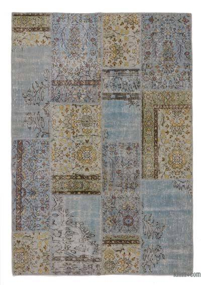 Light Blue Over-dyed Turkish Patchwork Rug - 4'7'' x 6'6'' (55 in. x 78 in.)