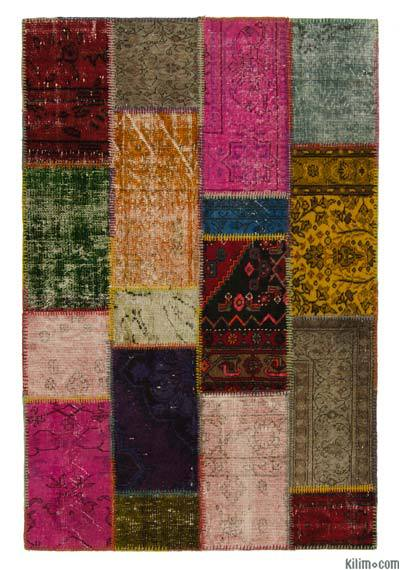 Multicolor Over-dyed Turkish Patchwork Rug - 3'11'' x 5'11'' (47 in. x 71 in.)