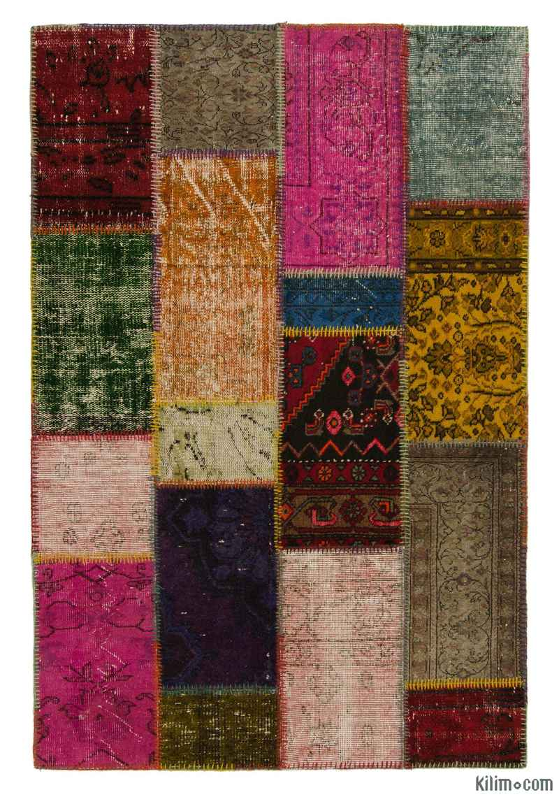 K0006131 Multicolor Over Dyed Turkish Patchwork Rug 3 11