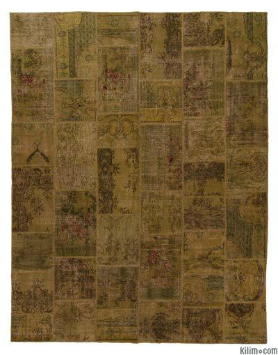 Brown Over-dyed Turkish Patchwork Rug - 7'10'' x 10'1'' (94 in. x 121 in.)