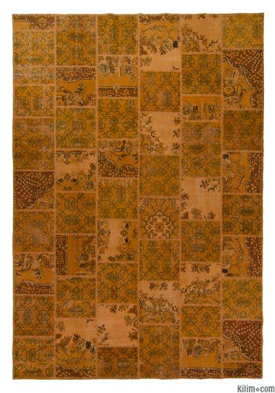 Orange Over-dyed Turkish Patchwork Rug - 7'10'' x 11'6'' (94 in. x 138 in.)
