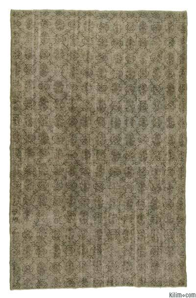 Green Over-dyed Turkish Vintage Rug - 6'7'' x 10'2'' (79 in. x 122 in.)
