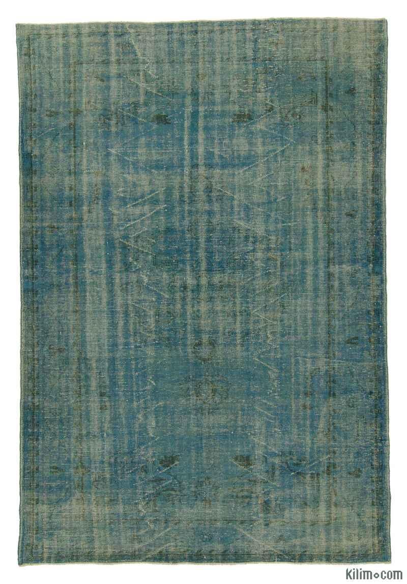 K0006169 Blue Over Dyed Turkish Vintage Rug 6 11 X 10