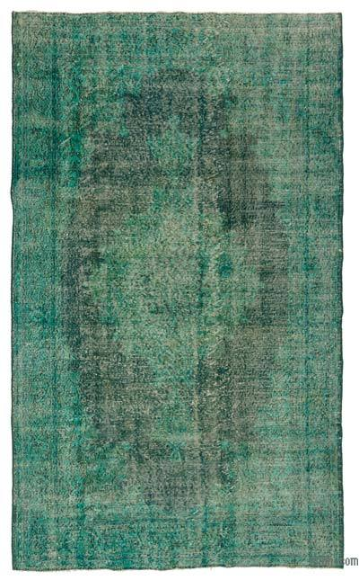 Turquoise Over-dyed Turkish Vintage Rug - 5'6'' x 9'1'' (66 in. x 109 in.)