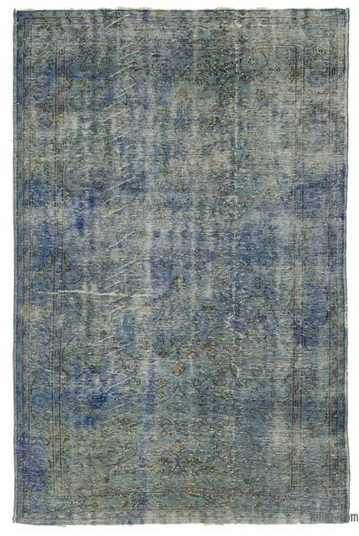 Blue Over-dyed Turkish Vintage Rug - 6'3'' x 9'7'' (75 in. x 115 in.)