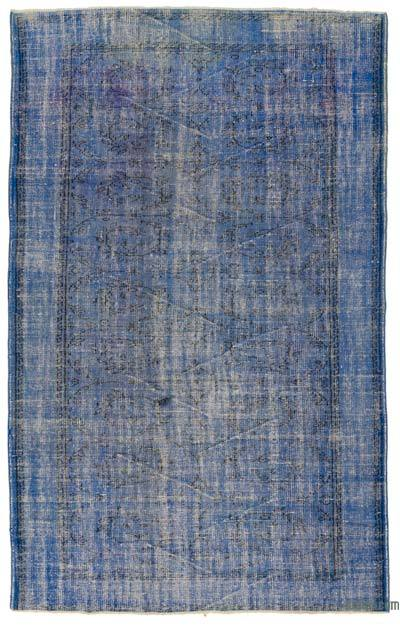 Blue Over-dyed Turkish Vintage Rug - 5'6'' x 6'11'' (66 in. x 83 in.)