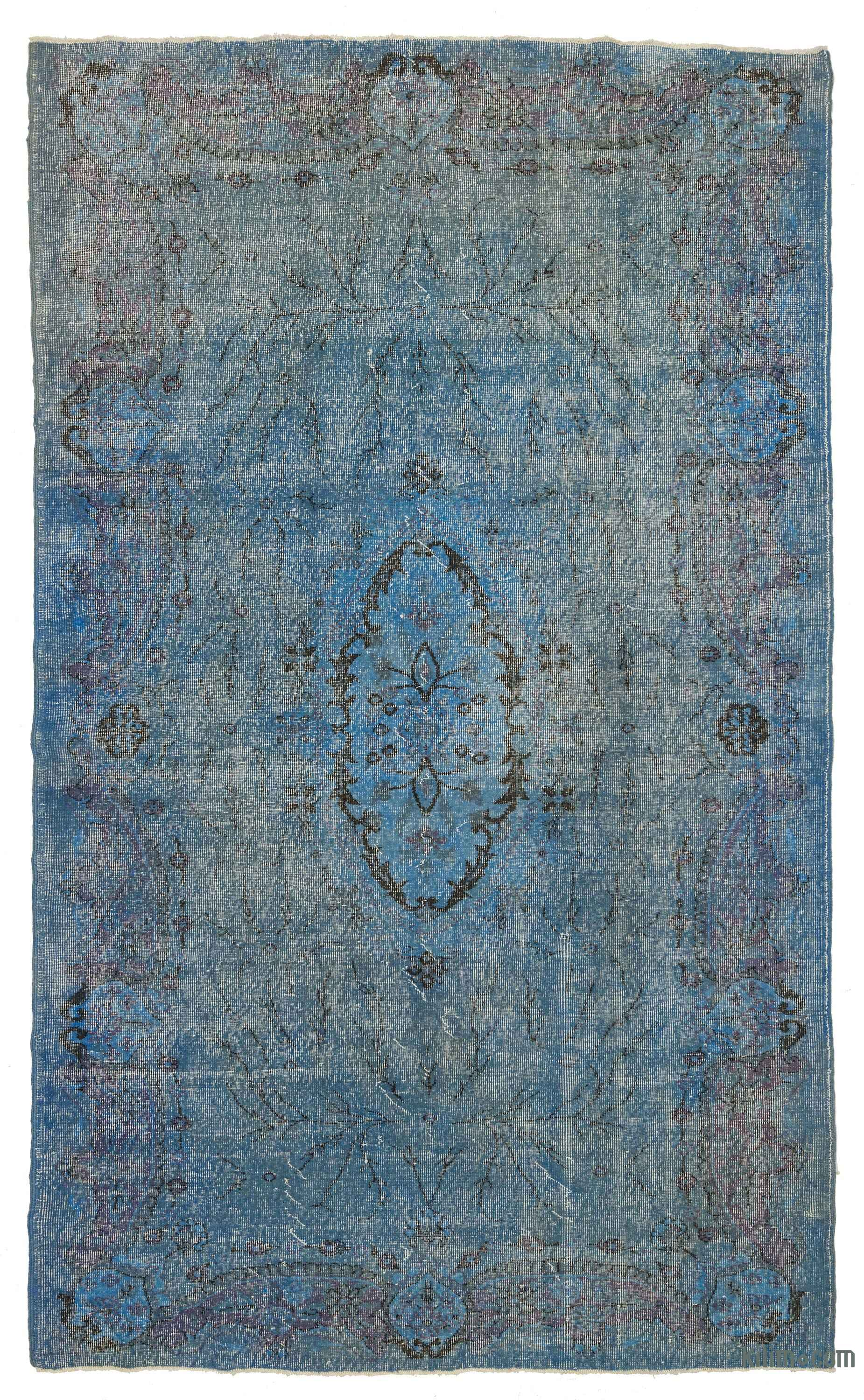 K0006180 Blue Over Dyed Turkish Vintage Rug 6 1 X 10 2