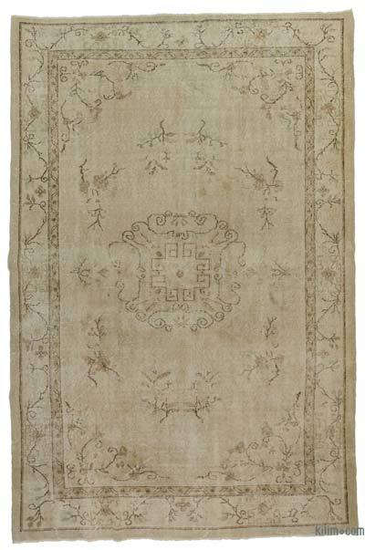 Beige Over-dyed Turkish Vintage Rug - 6'6'' x 9'10'' (78 in. x 118 in.)