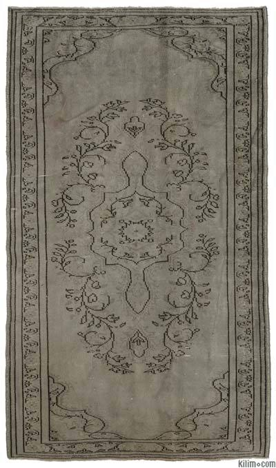 Grey Over-dyed Turkish Vintage Rug - 5'1'' x 8'9'' (61 in. x 105 in.)