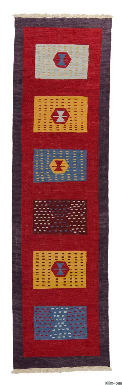 Red, Multicolor New Turkish Kilim Runner