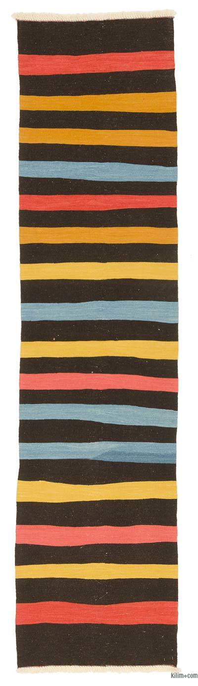Black New Turkish Kilim Runner