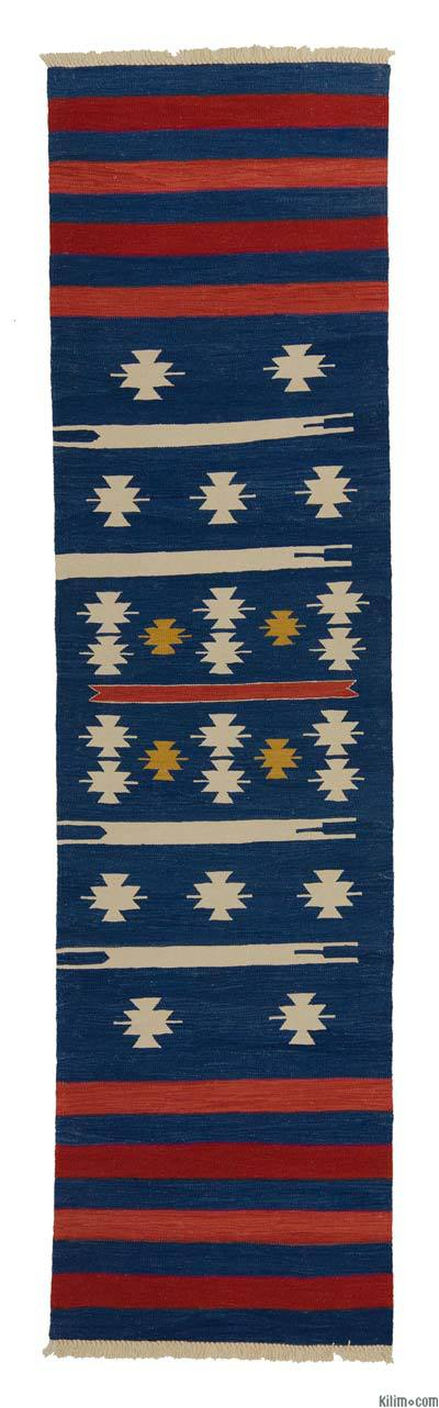 Blue, Light Blue New Turkish Kilim Runner