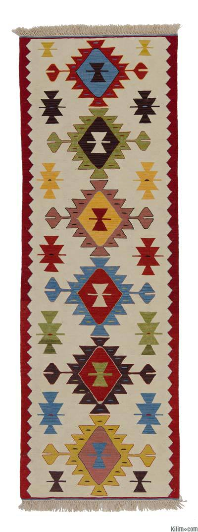 Beige, Multicolor New Turkish Kilim Runner