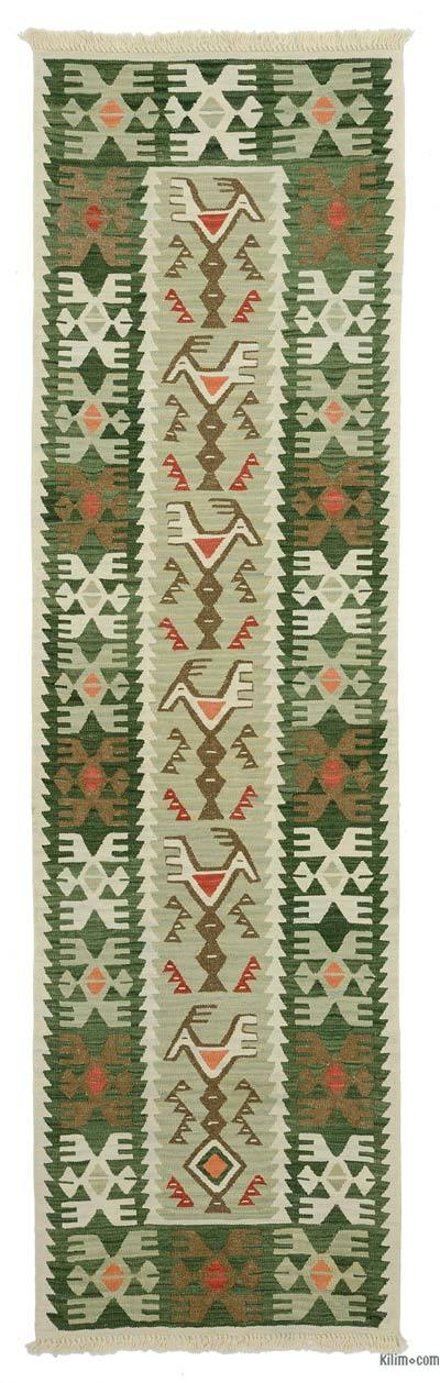 Green New Turkish Kilim Runner - NESA - 2'6'' x 8'10'' (30 in. x 106 in.)
