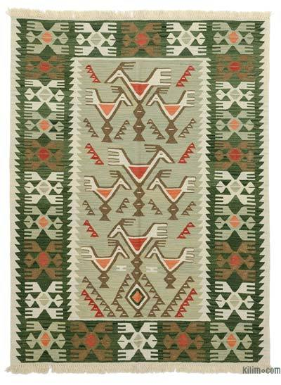 Green New Turkish Kilim Rug - 4'6'' x 6' (54 in. x 72 in.)