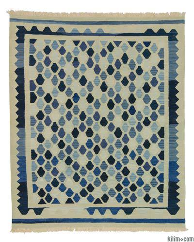 Light Blue, Blue New Turkish Kilim - 5'5'' x 6'6'' (65 in. x 78 in.)