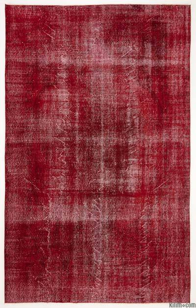 Red Over-dyed Turkish Vintage Rug - 6'2'' x 9'11'' (74 in. x 119 in.)