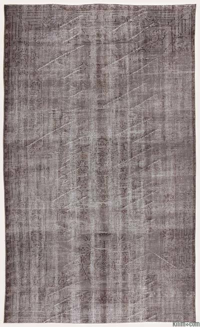 Grey Over-dyed Turkish Vintage Rug - 5'7'' x 9'5'' (67 in. x 113 in.)