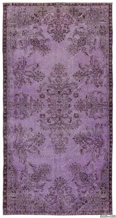 Purple Over-dyed Turkish Vintage Rug - 3'8'' x 7'1'' (44 in. x 85 in.)