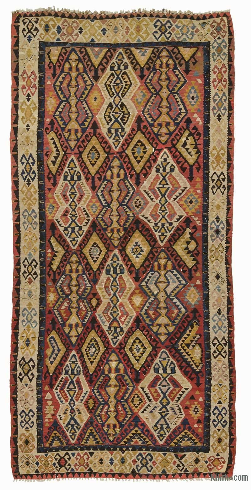 K0007939 Multicolor Antique Avar Kilim Rug