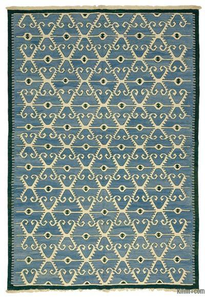 Light Blue New Turkish Kilim Rug