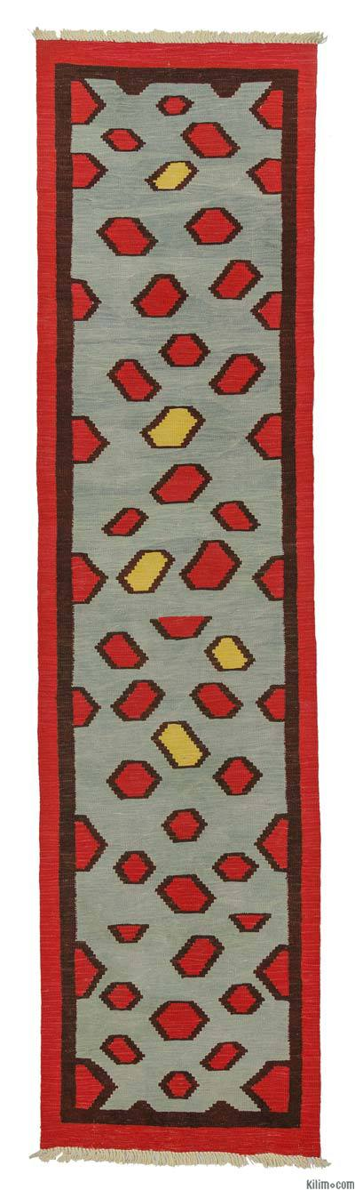 Red, Light Blue New Turkish Kilim Runner