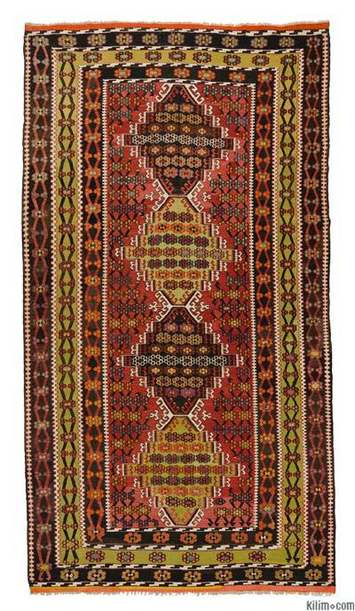 Red, Green Vintage Corum Kilim Rug