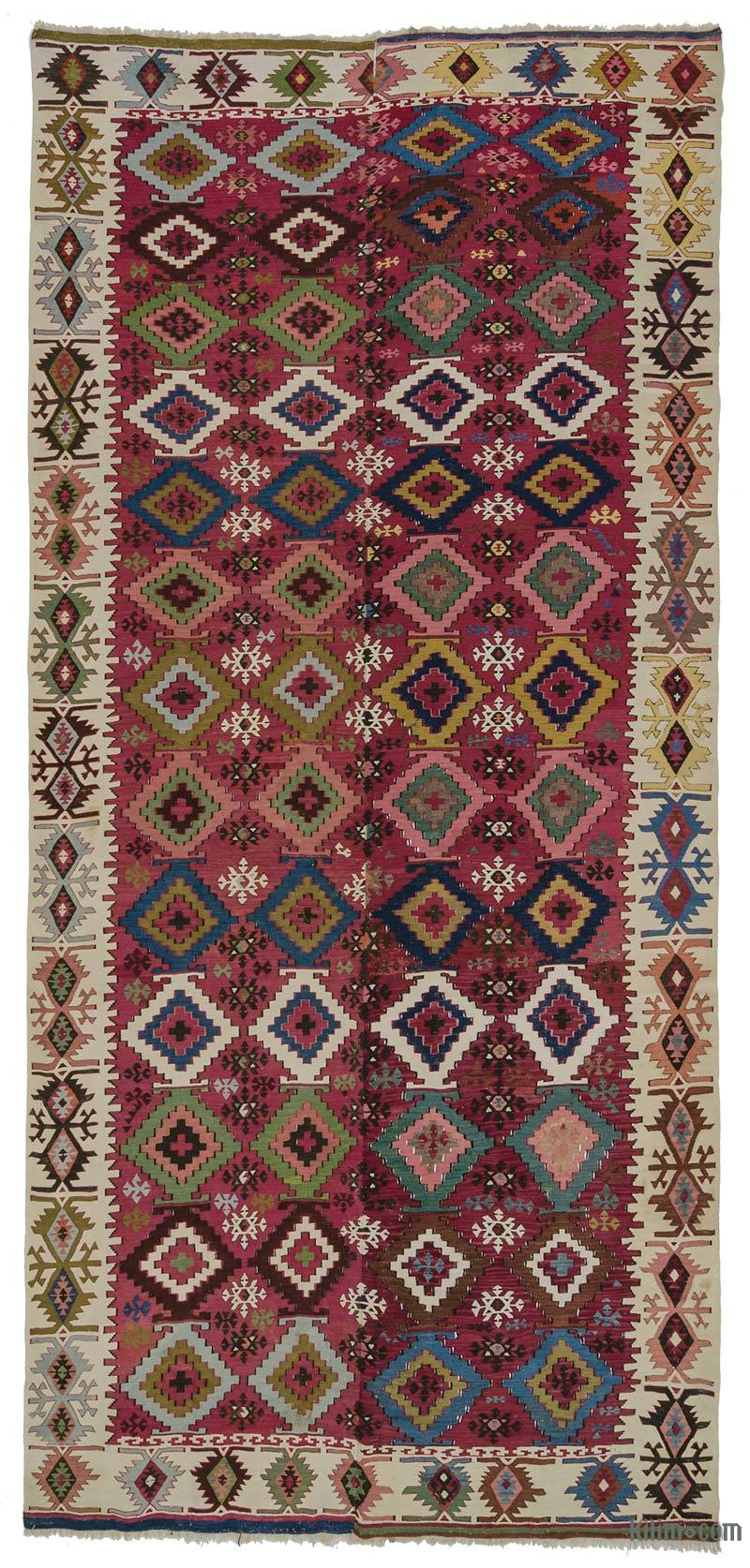 K0007983 Multicolor Antique Adana Kilim Rug