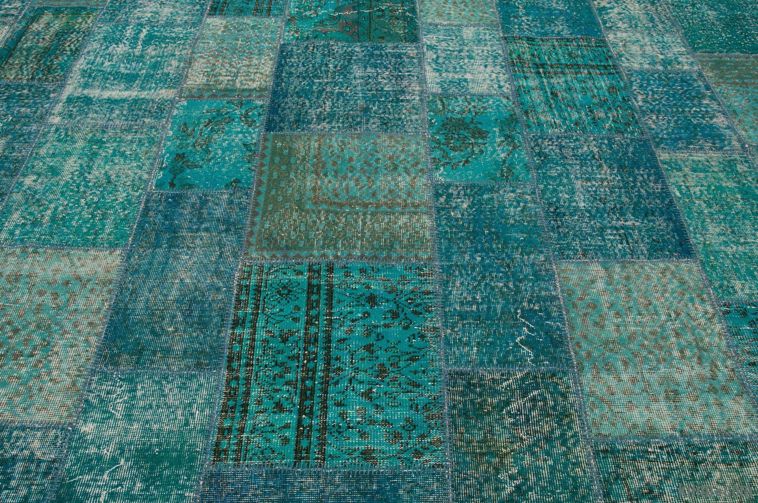Turquoise Over Dyed Turkish Patchwork Rug