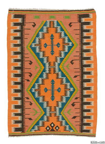 Orange Vintage Adana Kilim Rug - 3' x 4'3'' (36 in. x 51 in.)