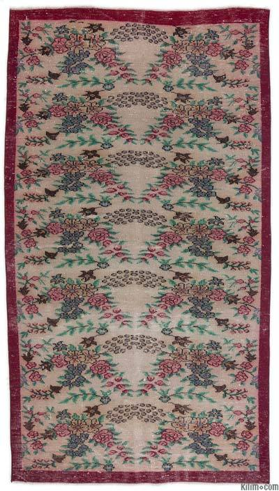 Beige, Red Turkish Vintage Rug - 4'7'' x 8'4'' (55 in. x 100 in.)