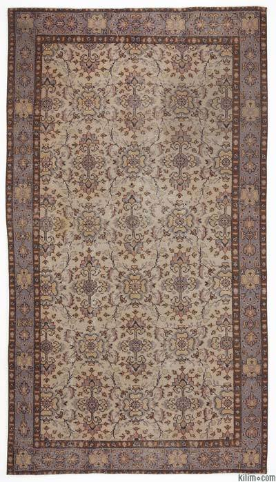 Purple, Brown Turkish Vintage Rug - 5'3'' x 9'5'' (63 in. x 113 in.)