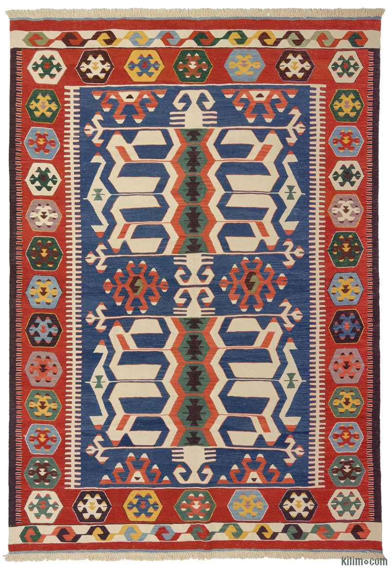 K0008653 Blue Red New Turkish Kilim Rug
