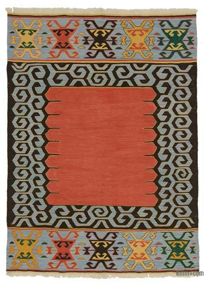 Red New Turkish Kilim Rug - 5' x 6'9'' (60 in. x 81 in.)