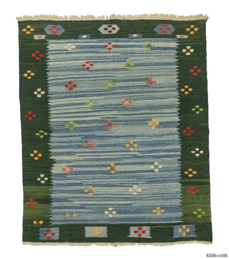K0008688 Light Blue, Green New Turkish Kilim Rug