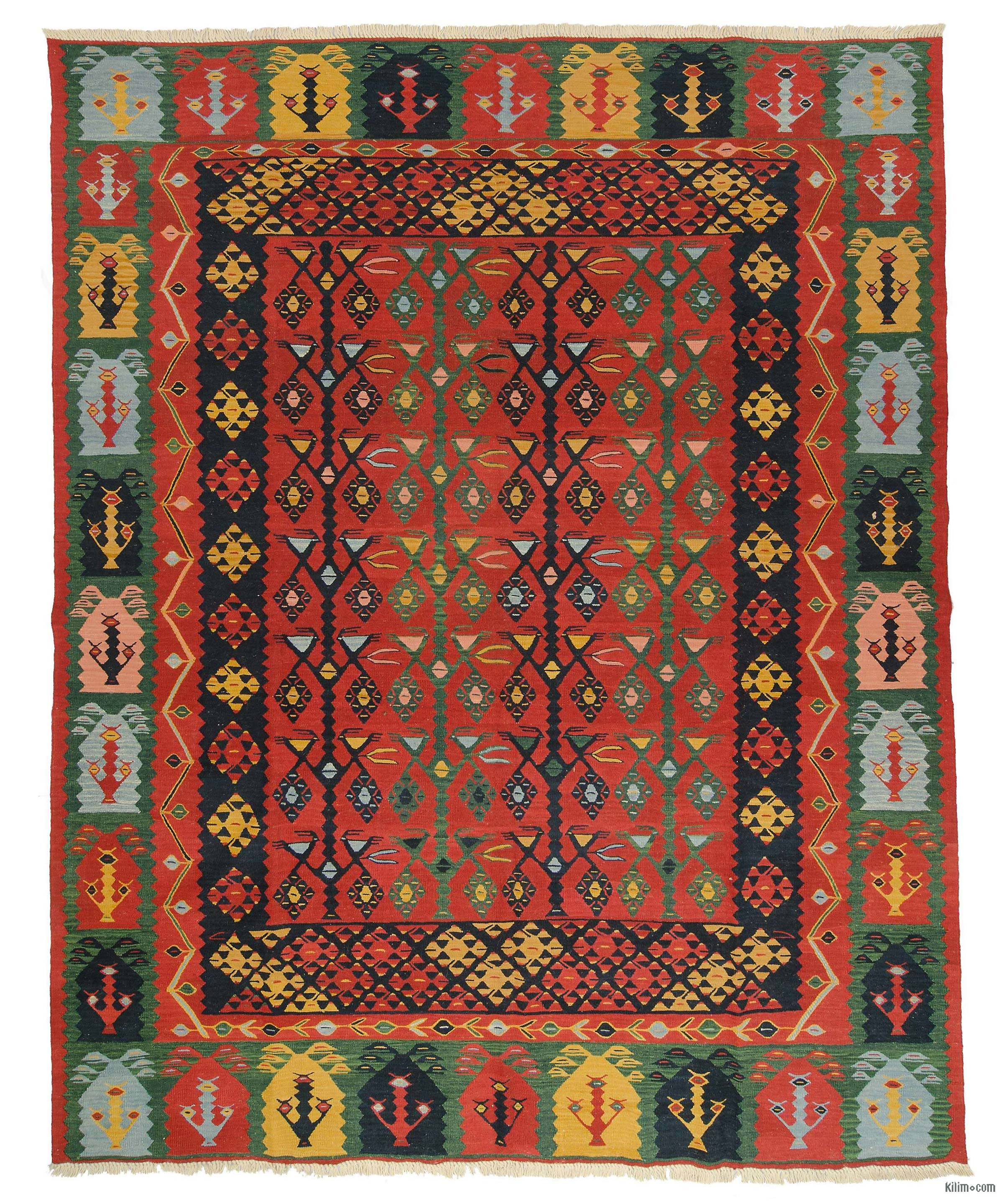What Makes Turkish Rugs Great How You Can Read The Design Of A Turkish Rug: K0008691 Red New Turkish Kilim Rug