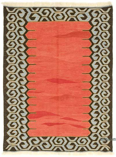 Red New Turkish Kilim Rug - 4'4'' x 5'9'' (52 in. x 69 in.)