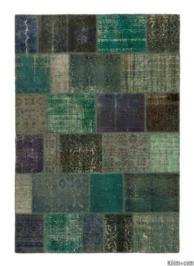 Over-dyed Turkish Patchwork Rug - 5'5'' x 7'10'' (65 in. x 94 in.)
