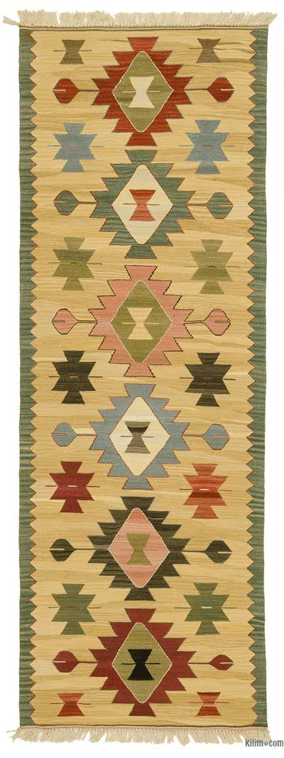 Yellow New Turkish Kilim Runner Rug